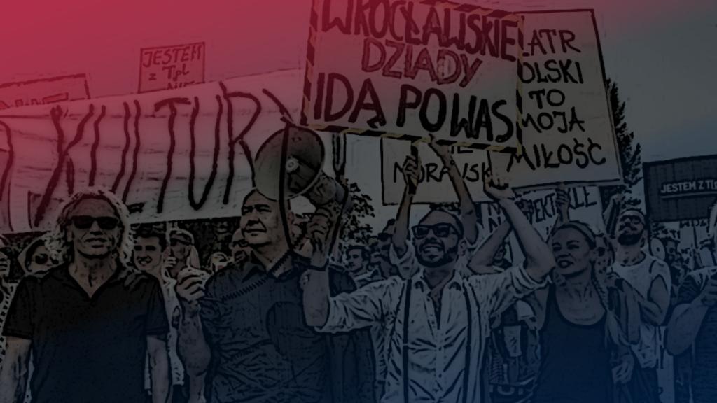 Demonstracja w obronie Teatru Polskiego w 2016 roku.
